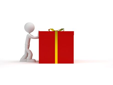 little character pushing red gift box