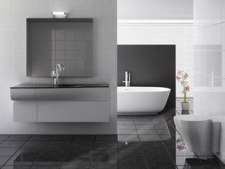 Including a modern bathroom sink, bath and plant Stock Photo