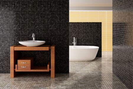 Including a modern bath and bathroom sink, rendered image Stock Photo