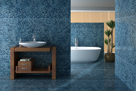 Including Blue bath and bathroom sink, rendered image Stock Photo
