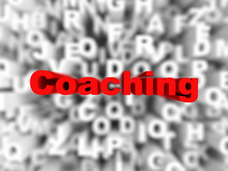 Coaching word typography on red background, rendered image
