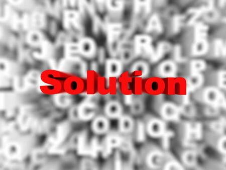 solution word on red background typography, rendered image Stock Photo