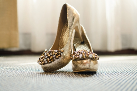 The bride s beautiful wedding shoes photo