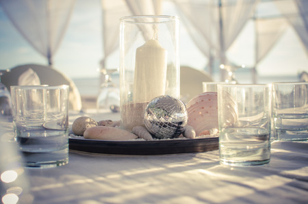 set for a romantic wedding the beach Stock Photo