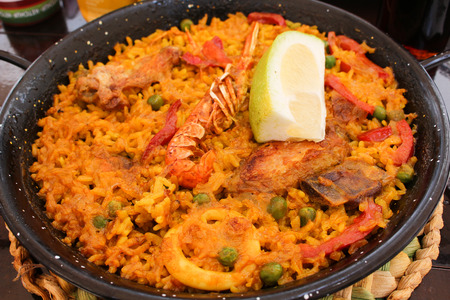 marisco: Tradition Seafood Spanish Paella in Pan, this is a typical spanish dish. Stock Photo