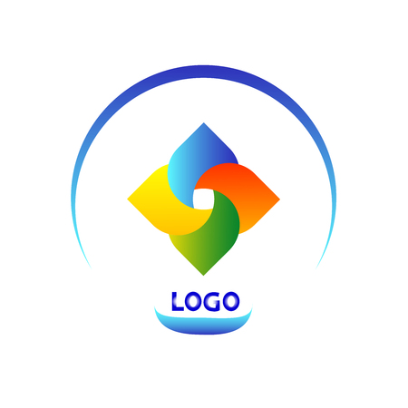 vector abstract color origami ribbon icon, logo isolated