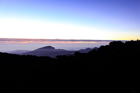 great smokies: Sunset at the Doi Inthanon in the Great Smoky Mountains.