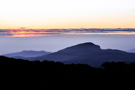Sunset at the Doi Inthanon in the Great Smoky Mountains.