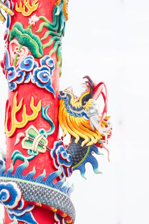 blue dragon: The blue dragon statue on red pole