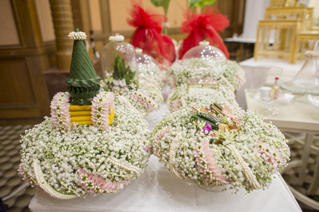 asian art: thai wedding ceremony and thai wedding decoration Stock Photo
