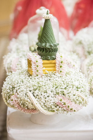 rite: thai wedding ceremony and thai wedding decoration Stock Photo