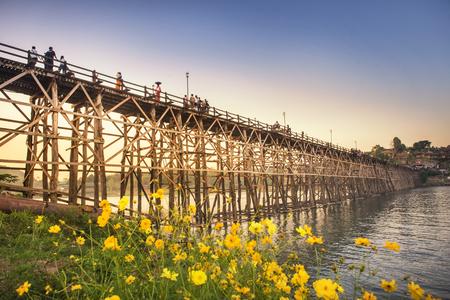 Old wooden bridge (MON BRIDGE) at subset in Sangklaburi , Kanchanaburi province, Thailand
