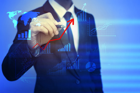 man profile: Closeup image of businessman drawing  graph,business strategy as concept