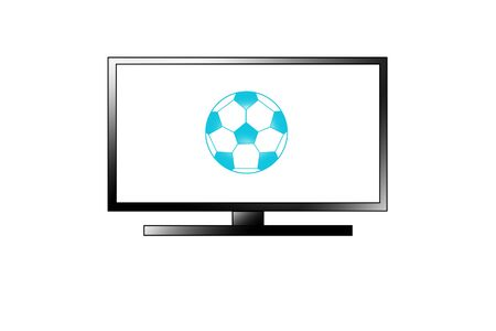 flat screen tv: TV football icon isolated on white background