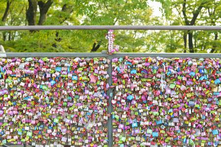 SEOUL,South Korea - MAY 24:Padlock at N Seoul Tower, at Seoul tower. MAY 24, 2016 in Seoul, South Korea