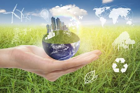 緑豊かな街、地球概念、NASA から提供された画像の要素を保存