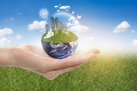 Hand hold green city, Save earth concept,Elements of images furnished by NASA