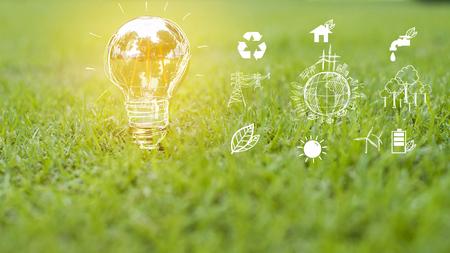 żarówka w zielonej trawie, Save earth concept
