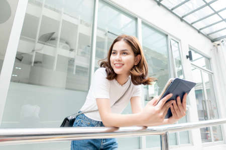 University student is holding tablet