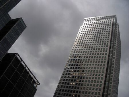 Upward view of one skyscraper at Canary Wharf, London.