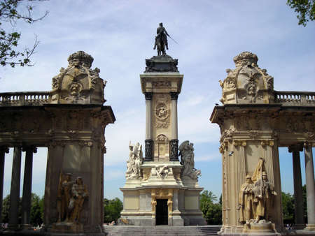 Rear view of the monument place in the lake of the Retiro Gardens in Madrid Stock Photo