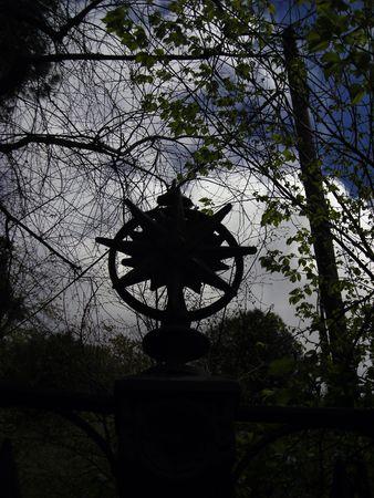 Gloomy decoration on a fence at Retiro Gardens in Madrid.