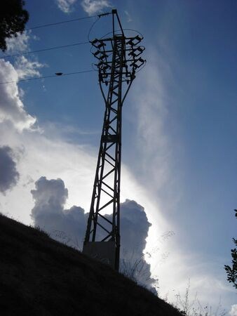 Electricity tower on a hill in the surroundings of Madrid.