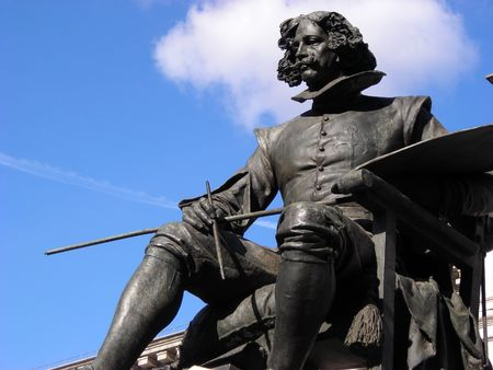 Statue of the famous painter Velazquez situated in front of the entrance of the Prado Museum in Madrid, Spain. Stock Photo
