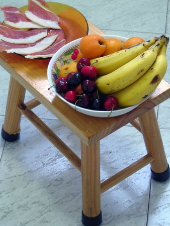 Some fruits and ham from Spain.