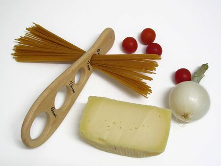 Ingredients and wooden meter, ready for italian food.