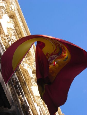 A little bit different view of the spanish flag, located in the Maritime Museum in Madrid. Stock Photo
