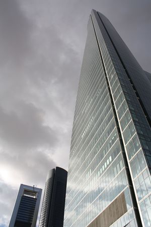 View of the new financial district in Madrid, Space Tower on the main character. Stock Photo