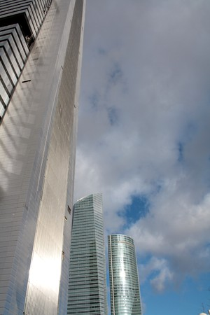 View of part of the new office buildings in Madrid, copy space.