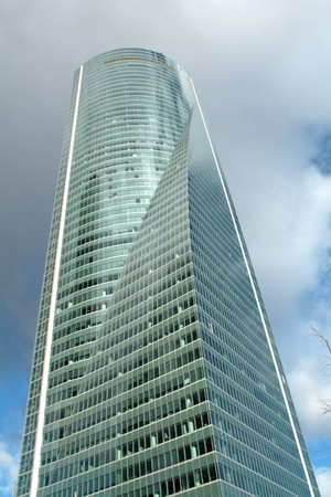 Main view of the brand new office building in the of Madrid, called Space Tower.