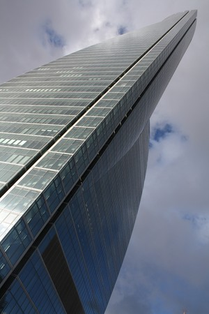 View of the brand new financial district main building in Madrid, so called Space Tower.