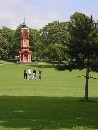 Some teenagers walking across Preston Park in Brighton, East Sussex, UK. Stock Photo - 4654665
