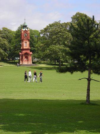 Some teenagers walking across Preston Park in Brighton, East Sussex, UK. Stock Photo - 4654665