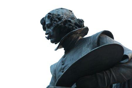 velazquez: Close up of Velazquez statue at the entrance of the Prado Museum. Stock Photo