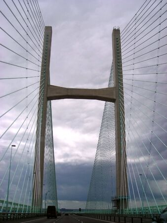 severn: View from a car of the Severn Bridge on a stormy day.
