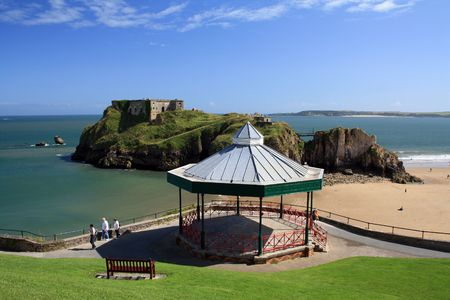 tenby wales: The bandstand on a hill with Saint Catherine island on the distance Stock Photo