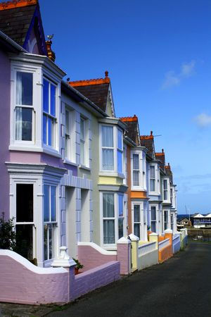 maisonette: Beautiful colourful houses in Aberaeron, a coastal town in Ceredigion, Wales. Stock Photo