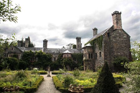 The restored, ancient and haunted Gwydir castle at Snowdonia National Park in Gwynedd, Wales. photo