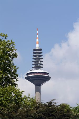 The Europaturm, The tower of Europe, tallest structure in Frankfurt, Hesse, Germany.