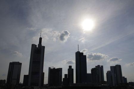 The sunset skyline in Frankfurt, Hesse, Germany.