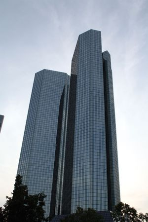 The twin towers of Frankfurt, Hesse, Germany.