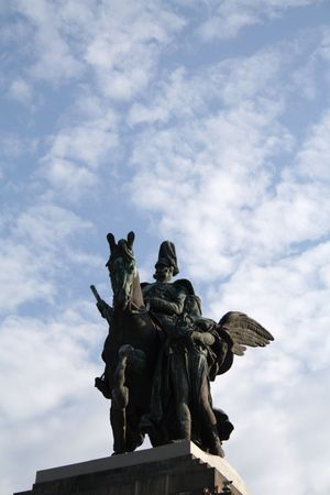 The statue of the german emperor William I, at the German Corner in Koblenz, Rhineland-Palatinate, Germany. Stock Photo