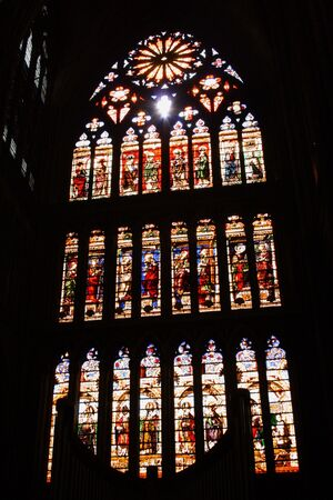 One the beautiful stained glass windows in the Metz Cathedral, Lorraine, France. Stock Photo