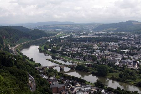 View of the oldest german city of Trier and the Mosel River, Rhineland-Palatinate, Germany. Stock Photo