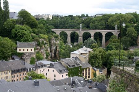 View of the railway bridge at Rue du Fort Olisy in Luxembourg. Stock Photo