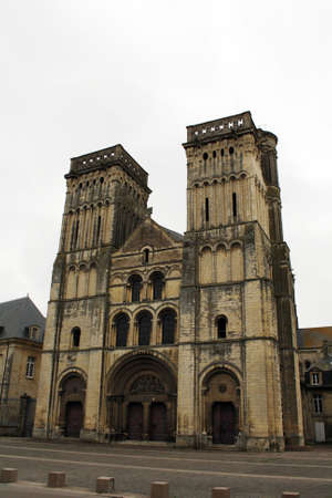 Facade of the ancient church of the Womens Abbey in Caen, Calvados, Lower Normandy, France.